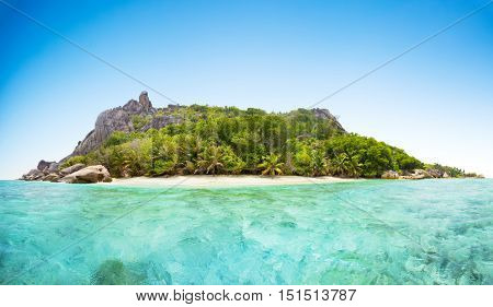 Beautiful Seychelles tropical beach panoramatic view at La Digue island