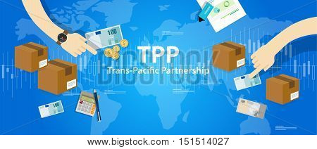 TPP Trans Pacific Partnership Agreement free market trade international vector