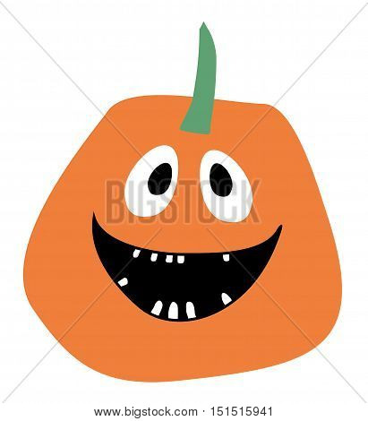 Orange Pumpkin vector Halloween pumpkin icon Pumpkin icon vector Smiling Pumpkin on a white background Simple flat style design Pumpkin isolated Pumpkin vector icon