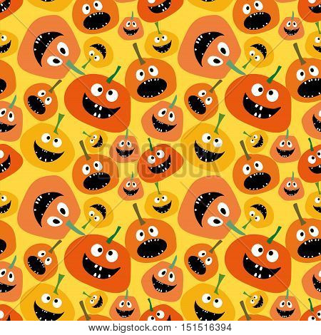 Pumpkin seamless pattern on yellow background Background for Halloween party yellow and orange pumpkin Pumpkin seamless background