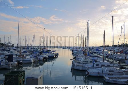 eautiful soft evening sea landscape with moored yachts. Majorca, Spain.