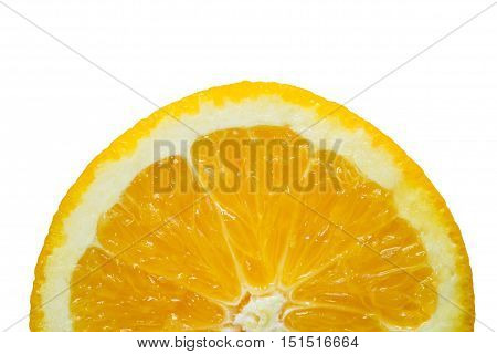 Half of Slice fresh orange isolated on white background. Include clipping path.
