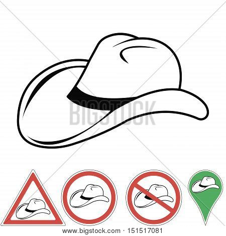 cowboy hat cowboy accessory pointer signs in vector for print or design