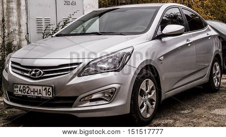 Kazakhstan, Ust-Kamenogorsk, october 10, 2016: Hyundai i40, new car, new korean car in the street, sedan