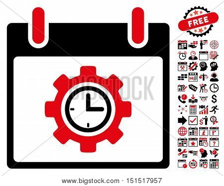 Time Gear Calendar Day icon with bonus calendar and time management design elements. Vector illustration style is flat iconic symbols, intensive red and black, white background.