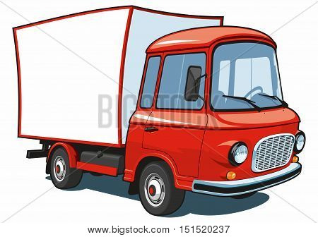 Vector isolated cartoon red commercial  truck on white background