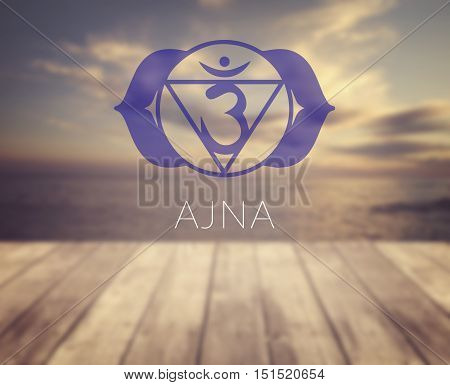 Ajna chakra symbol. Poster for yoga class with a sea view.