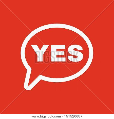 The YES speech bubble icon. Yes symbol. Flat Vector illustration