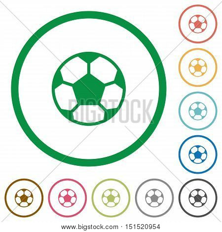 Set of soccer ball color round outlined flat icons on white background