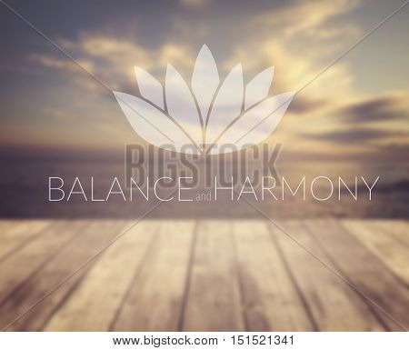 Balance and harmony. Poster for yoga class with a sea view.