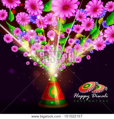easy to edit vector illustration of flower fire cracker for safe Happy Diwali holiday background