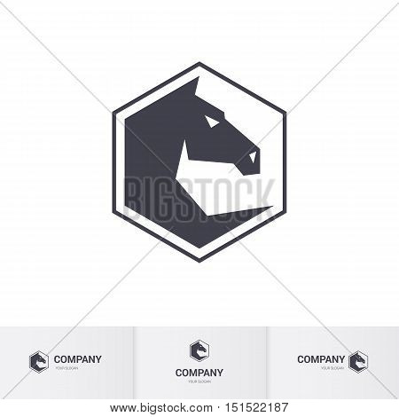 Stylized Dark Horse Head for Mascot Logo Template