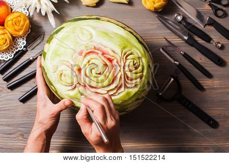The watermelon fruit carved, art of thailand