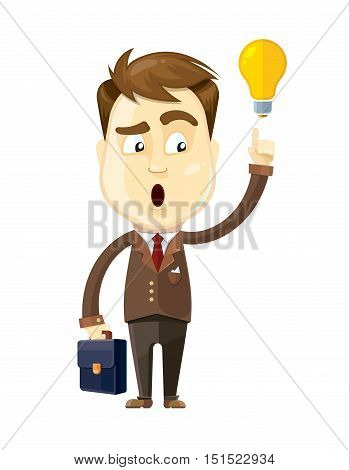 vector illustration of businessman with idea callout hold diplmat in his hand. Isolate on white background