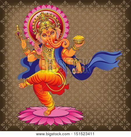 Illustrations dancing vector Ganesha on ornamented background