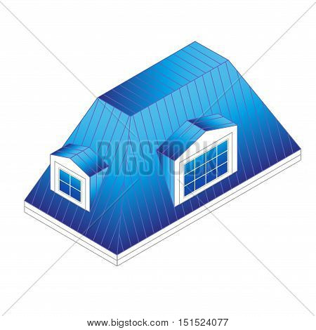 pitched mansard roof with dormer windows. Building roof type: mansard roof.pitched roof with windows isometric