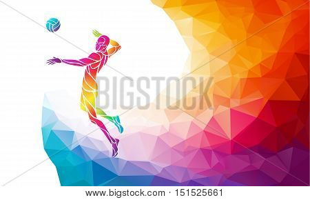 Volleyball attacker player with ball. Beach sport colorful vector illustration with background or banner template in trendy abstract colorful polygon style and rainbow back
