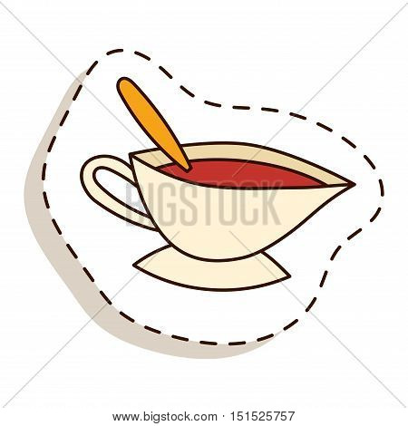 Tea cup vector illustration. Hot cup with tea and leaves. Tea healthy drink. Fresh tea fresh hot drink. Isolated tea cup