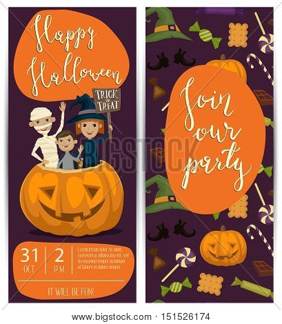 Halloween party banner with halloween elements and place for text. Funny kids in halloween costumes mummy, vampire and witch. Cartoon Halloween kids characters. Halloween design elements. Flyer on Halloween party night. Layout for halloween ad.