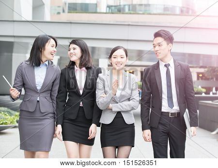 business people talk in office in hongkong