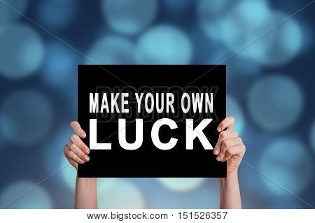 Make Your Own Luck card with bokeh background
