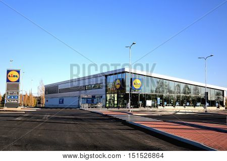 HALIKKO FINLAND - OCTOBER 8 2016: The new Lidl supermarket in Halikko. The discount supermarket chain Lidl Stiftung & Co. KG has currently 152 stores in Finland and the new Halikko store will open on 13 October.