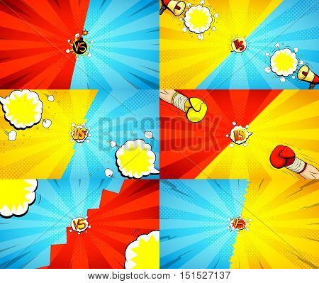 Set of versus letters fight illustrations. Vector backdrops. Collection of decorative backgrounds with bomb explosive in pop art style.