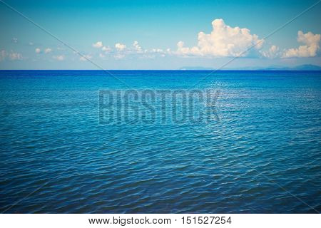 bright sea landscape and the sky with the horizon in retro style for a natural background or for natural wallpaper