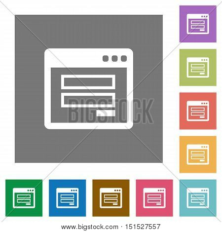 Login window flat icon set on color square background.