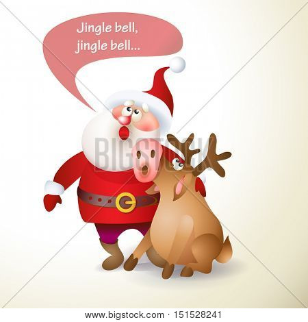 Christmas Santa Claus with reindeer singing song. Vector illustration Santa Claus for your design. Old men and reindeer characters. Christmas and New Year theme