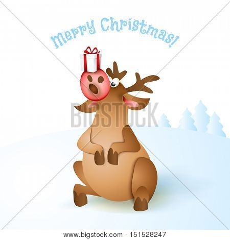 Happy Christmas pop-eyed reindeer sitting with gift box on nose. Blue landscape background. Cartoon Character of deer. Vector illustration