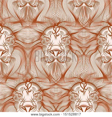 Repaint vector seamless pattern: old head lion