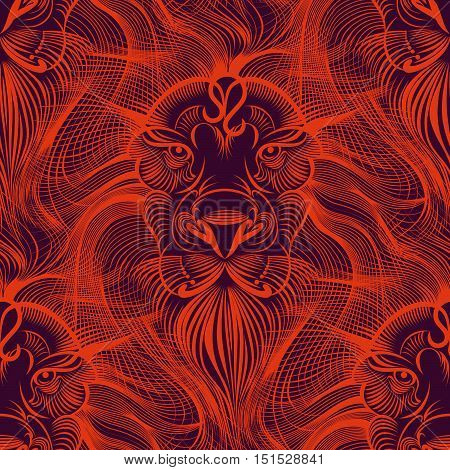 Repaint seamless pattern: fiery Leo. Mesmerizing sight of a lion in red tones