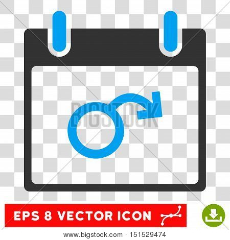 Vector Impotence Calendar Day EPS vector pictogram. Illustration style is flat iconic bicolor blue and gray symbol on a transparent background.