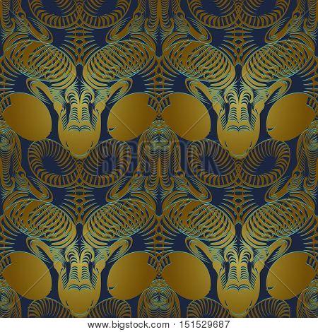 Repaint seamless vector pattern: bronze astrology head ram