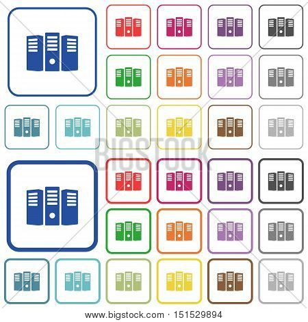 Set of server hosting flat rounded square framed color icons on white background. Thin and thick versions included.