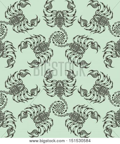 Repaint seamless pattern: scorpions. Easy to recolor vector pattern