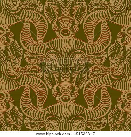Repaint seamless pattern: Bull. Repaint seamless pattern