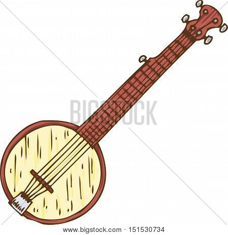 Musical Instrument. Wooden Banjo. Isolated on a White
