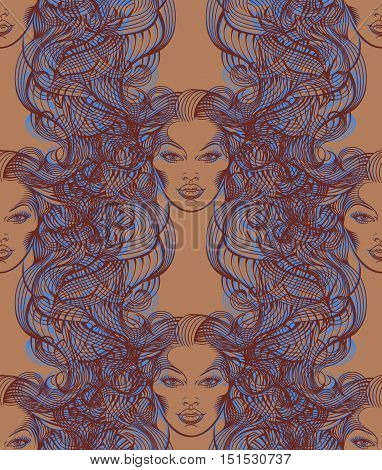 Repaint seamless pattern: Virgo. Easy to recolor vector pattern