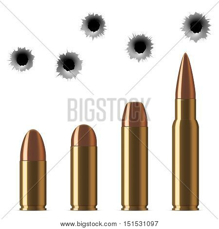 Vector shot gun bullets and bullet holes isolated on white background. Gunshot and caliber of weapon bullets illustration