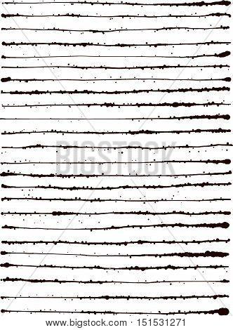 black splatter grunge lines background over white