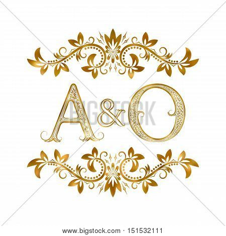 A&O vintage initials logo symbol. Letters A O ampersand surrounded floral ornament. Wedding or business partners initials monogram in royal style.