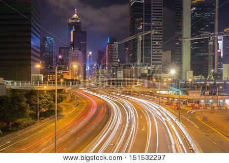 Hong Kong City And Traffic Of Street At Night