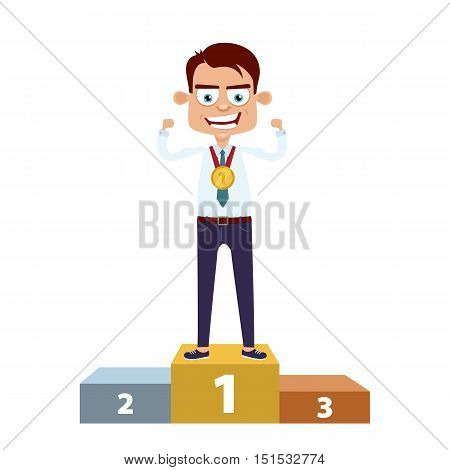 Happy Winner! Businessman Standing On The Podium At First Place With A Gold Medal And Shows Muscles.