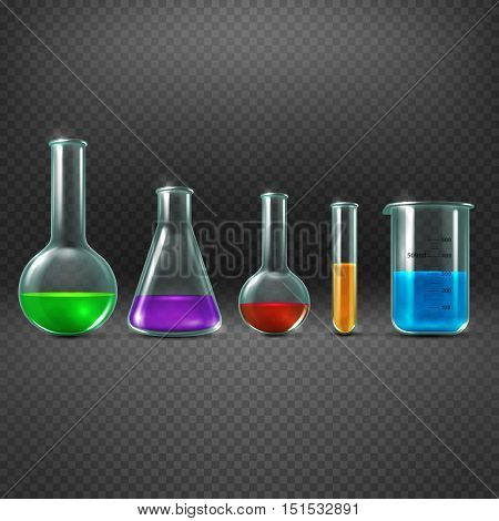 Chemical laboratory with chemicals in test tube equipments vector illustration. Beaker with color sample substance