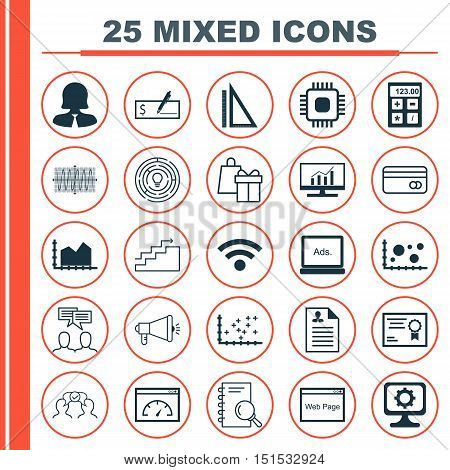 Set Of 25 Universal Icons On Measurement, Sinus Graph, Curriculum Vitae And More Topics. Vector Icon