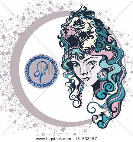 Decorative Zodiac sign Leo for your design