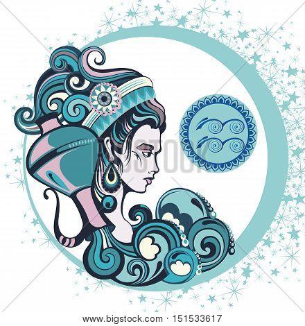 Decorative Zodiac sign Aquarius for your design