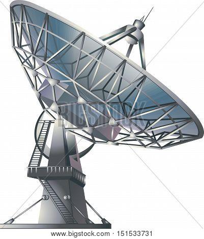 Satellite dish , vector illustration. radio telescope isolated on white background